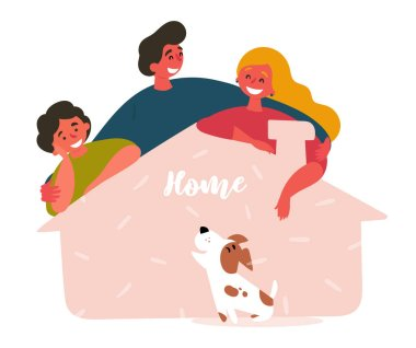 Three friends and adopted pet from shelter house
