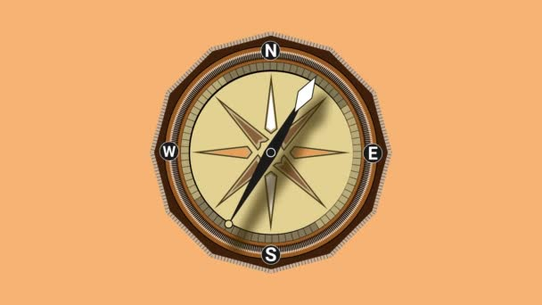 Compass spinning 4K animation. Geography navigation pointing equipment with magnetic hand, wind rose and guide scale. Old GPS nautical topography instrument of mapping orientation