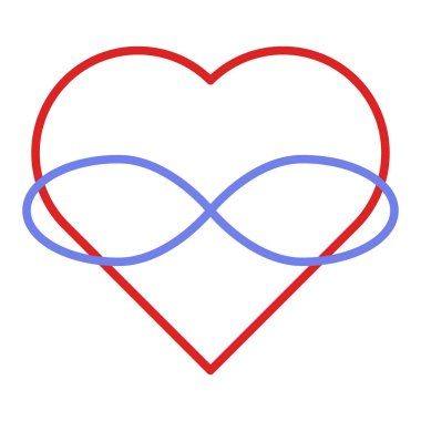 Symbol of polyamory. Heart and infinity. Endless love. White background and linear style. Red heart