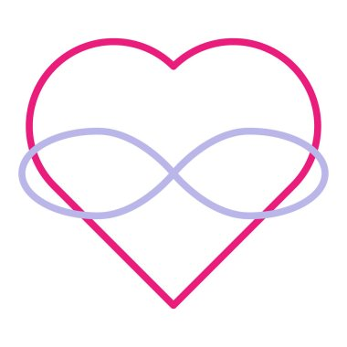 Symbol of polyamory. Heart and infinity. Endless love. White background and linear style. Pink heart