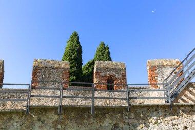 13th-century medieval stone Scaliger Castle (Castello Scaligero) on Lake Garda, Province of Verona, Malcesine, Italy