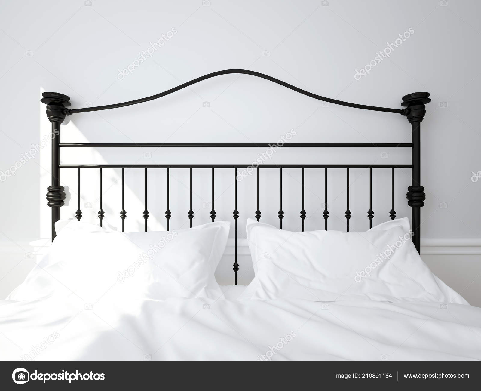 Wrought Iron Headboard Double Bed 3d Illustration Stock