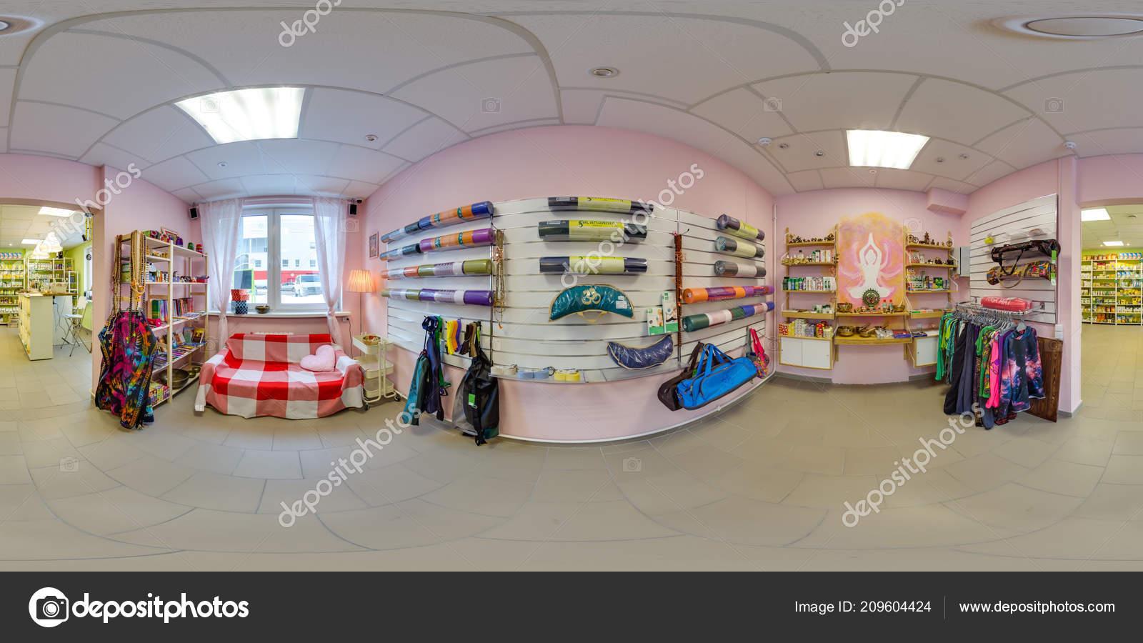 Interior Eco Store Clothes Yoga Items Beautiful Background Spherical Panorama Stock Editorial Photo C Jokki 209604424