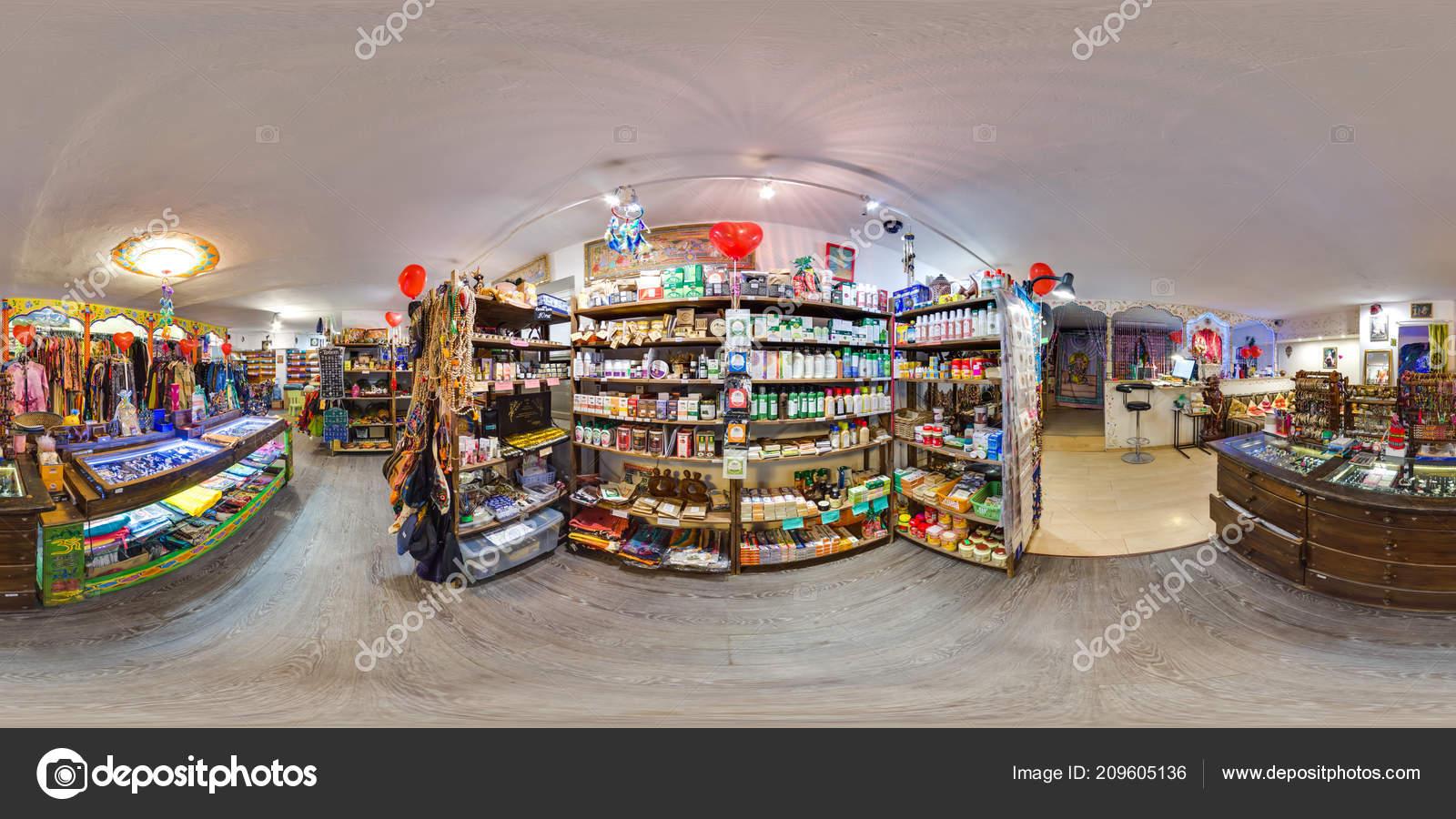Interior Eco Store Clothes Yoga Items Beautiful Background Spherical Panorama Stock Editorial Photo C Jokki 209605136