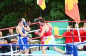 Lutsk Volyn region Ukrajina, 25.08.17. Boxerské soutěže na otevřeném vzduchu. Ukrajina-Polsko.