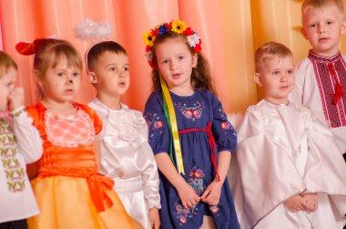Ukraina, Lutsk, 13 March 2018. Kindergarten is the fifth. Children's holiday matinee . Children preschoolers on holiday