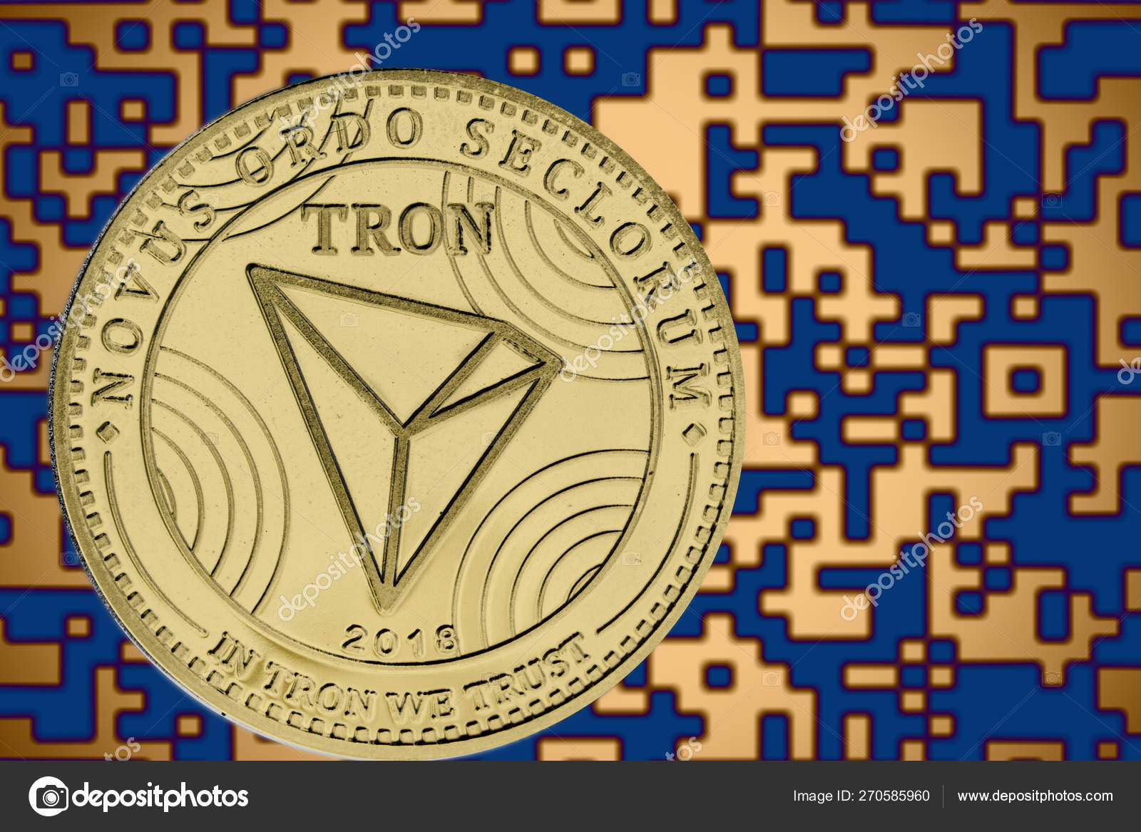 Token trx tron coin cryptocurrency on the background of gold crypto