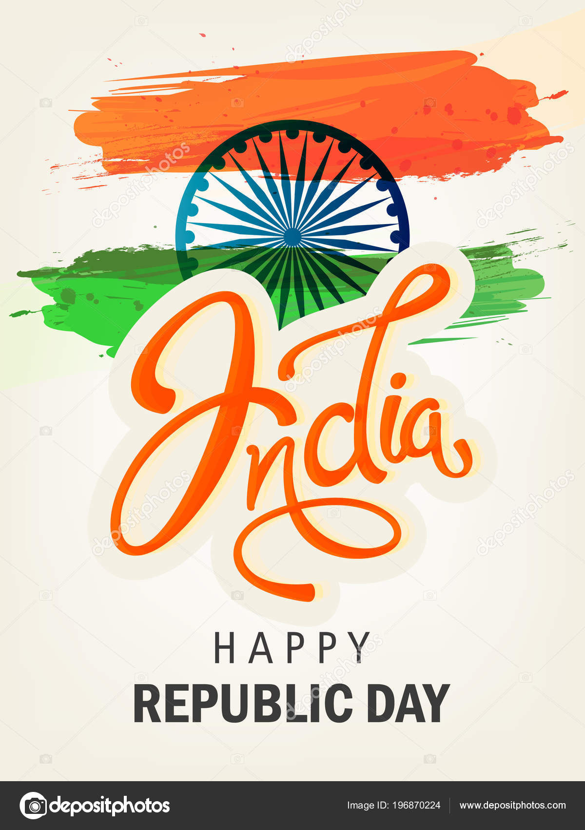 Greeting Card Republic Day Constitution India Festival Stock