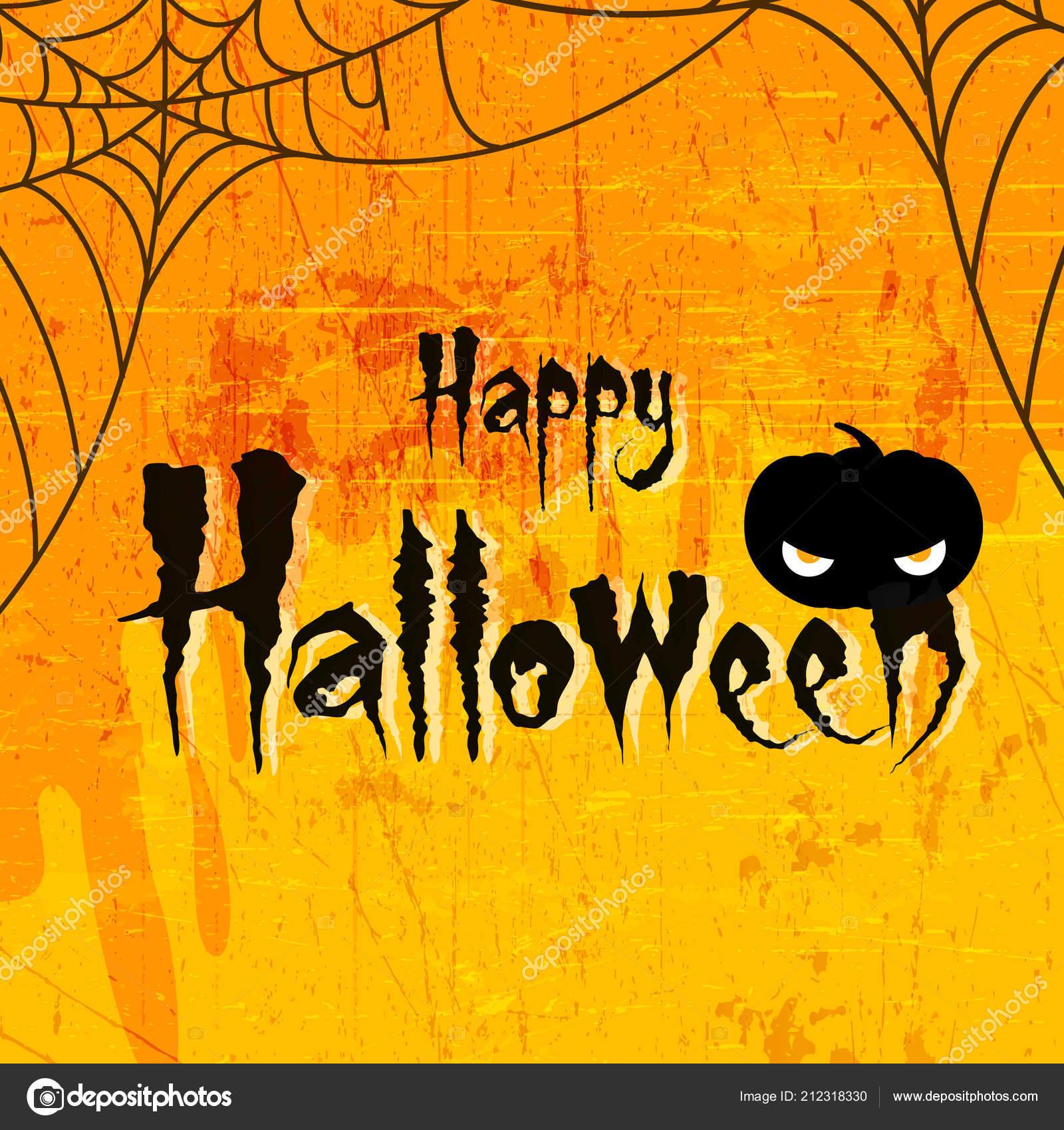 Scary Text Happy Halloween Scary Retro Background Celebration Halloween Stock Vector C Nekiart 212318330