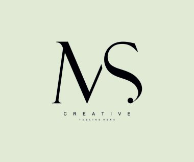 Luxury logo of creative typography MS linked letters