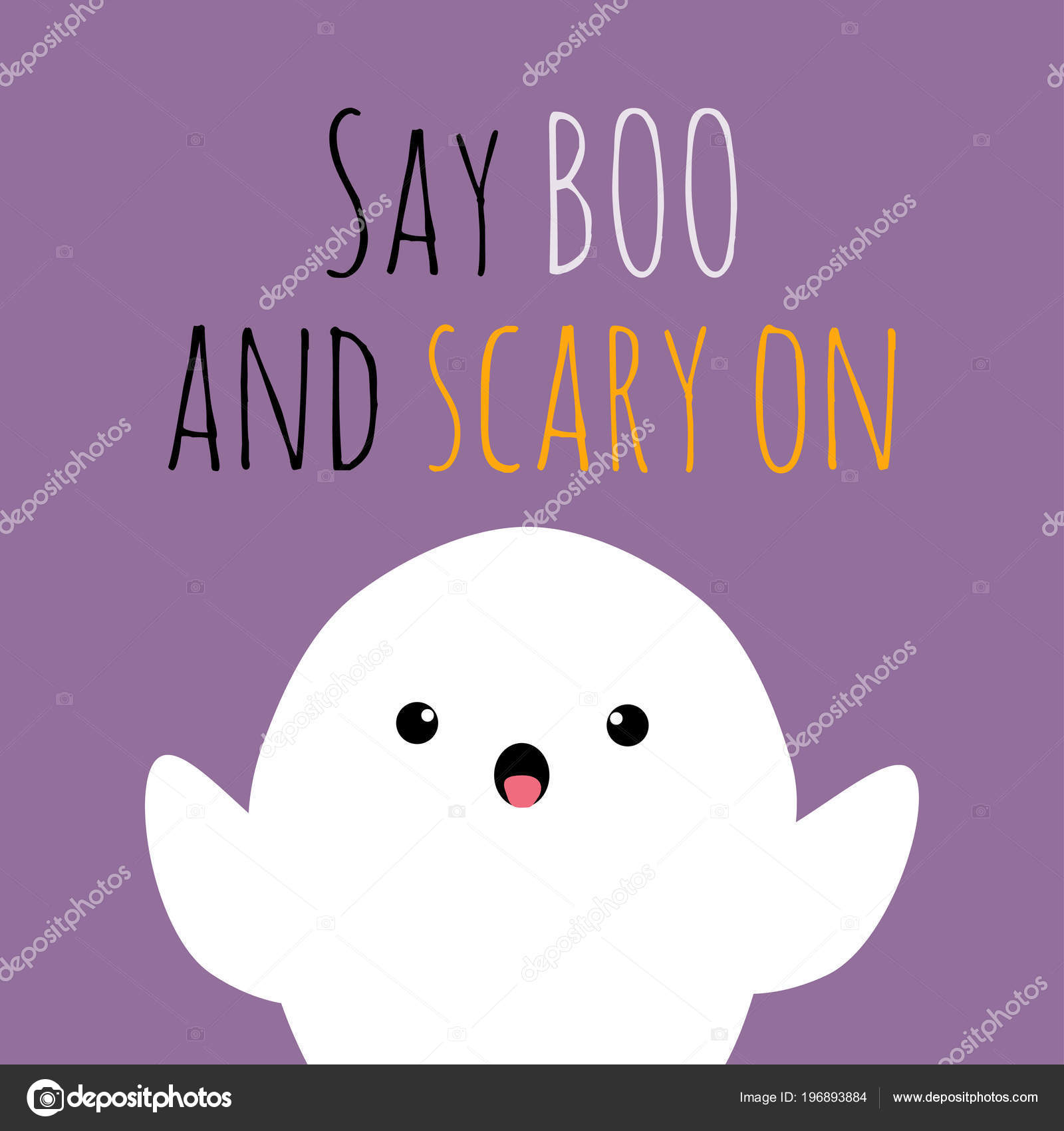 Vector Halloween Illustration Cute Funny Ghost Phrase Say Boo Scary