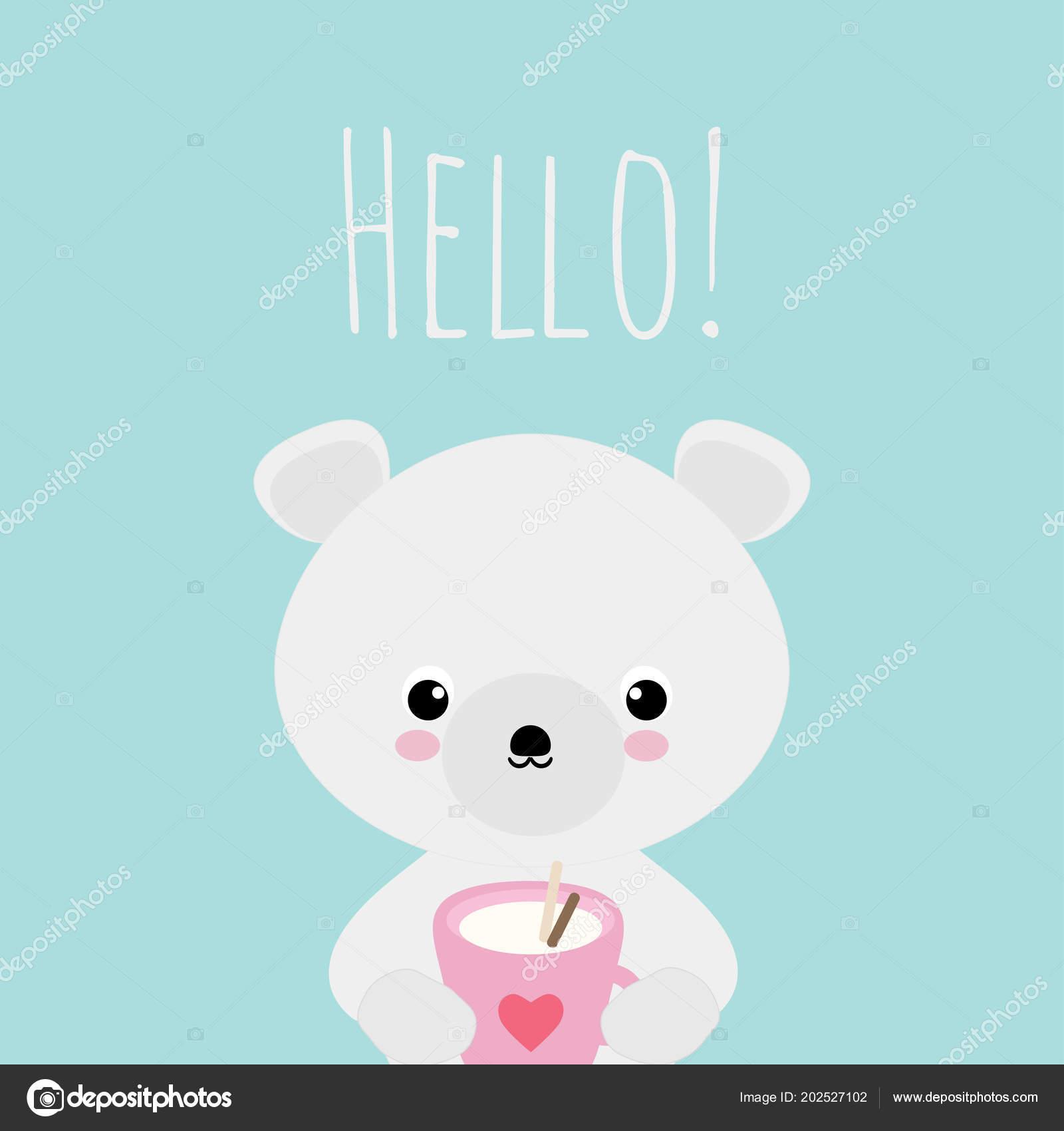Ilustração Vetorial Com Urso Polar Kawaii Bonito Copo Bebida Quente