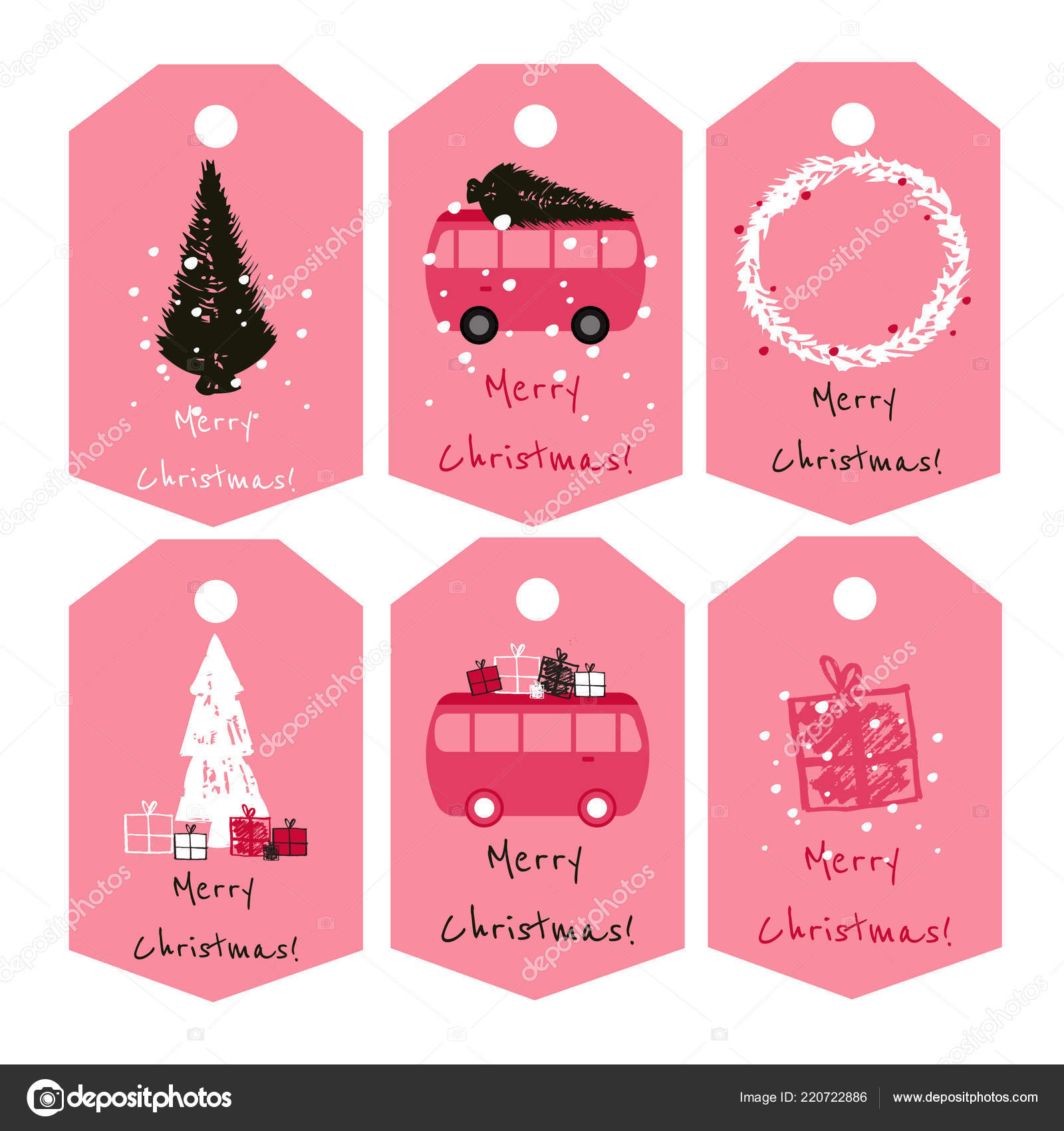 Cute Christmas Ideas For Couples.Set Cute Christmas Tags Nice Red White Black Color Palette