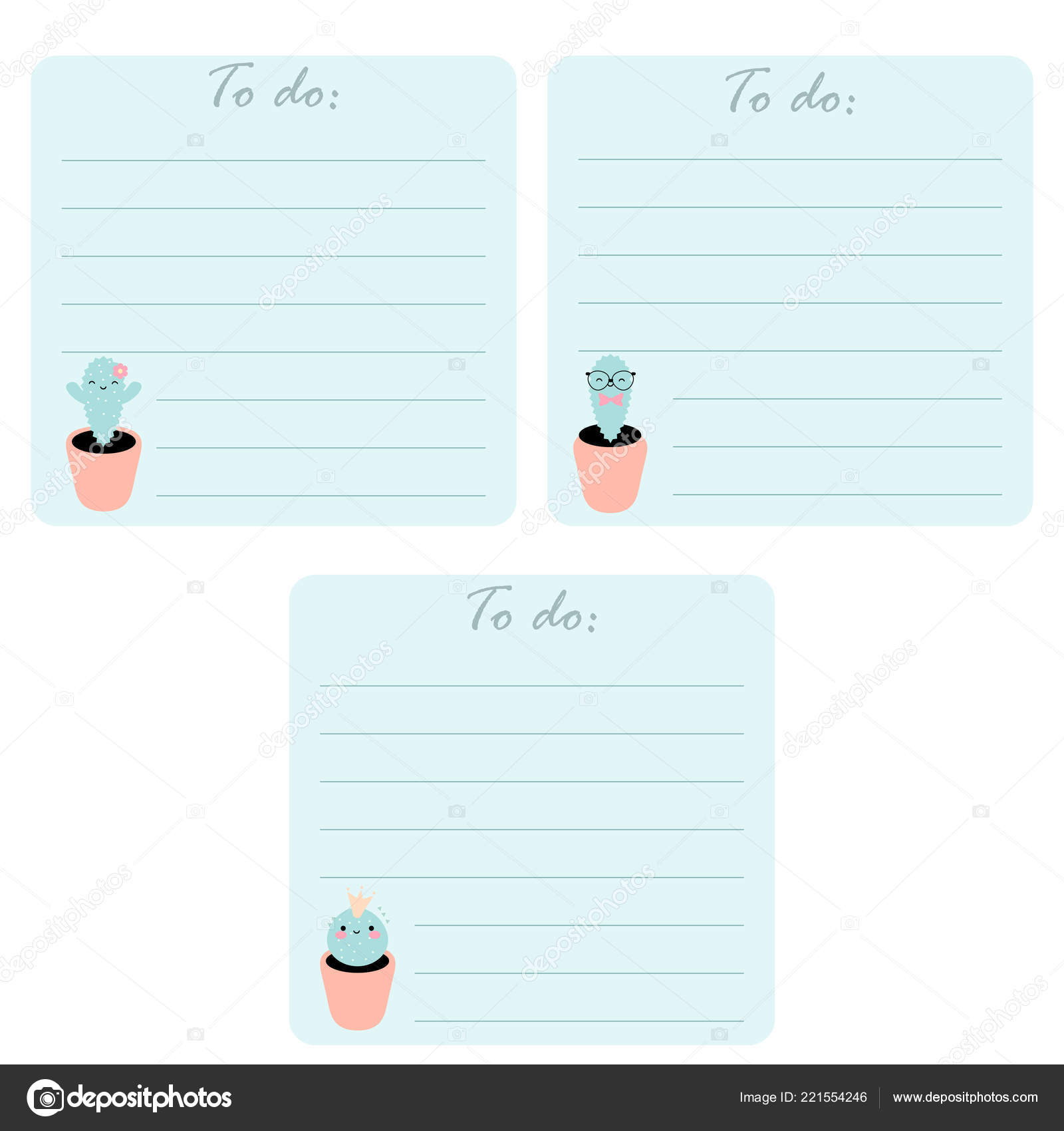 image about Printable Lists named Cactus printable template Fixed Printable Lists Lovable Kawaii