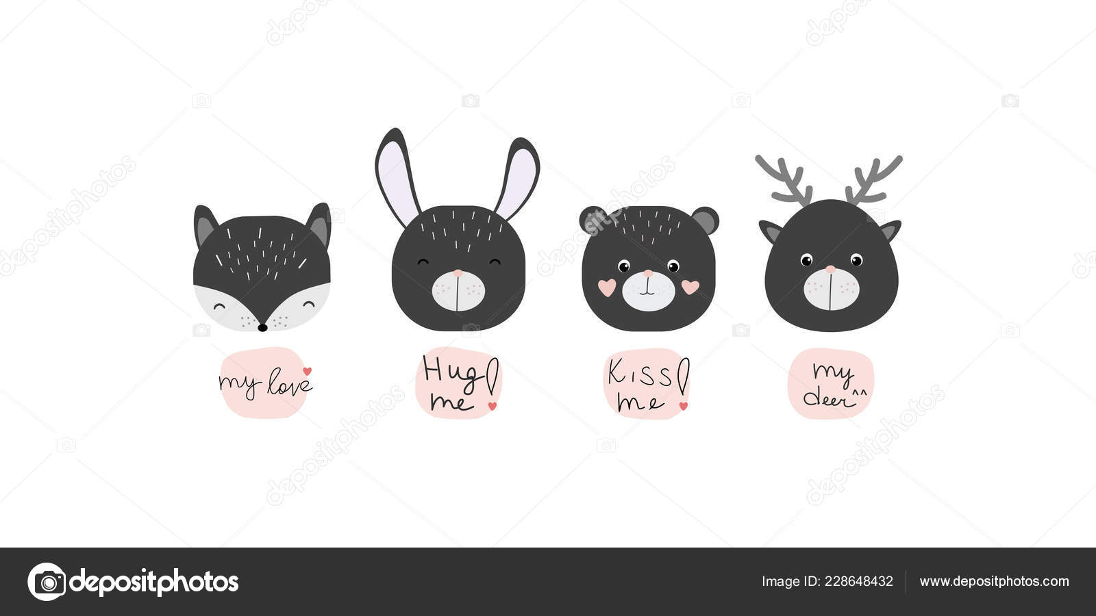 Pictures Cute Animals With Sayings Vector Illustration Cute Kawaii Animals Phrases Perfect Baby Shower Greeting Stock Vector C Owainphyfe 228648432