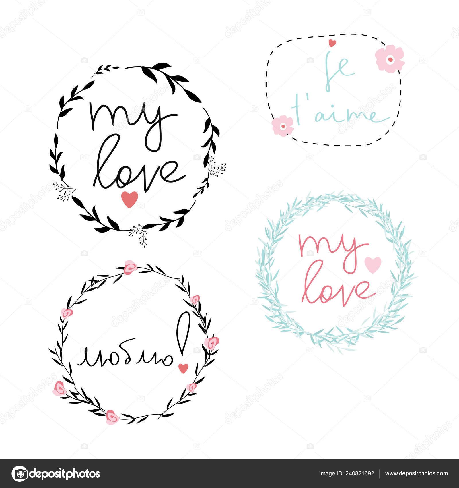 Conjunto Marcos Vector Guirnalda Amor Inspira Frases