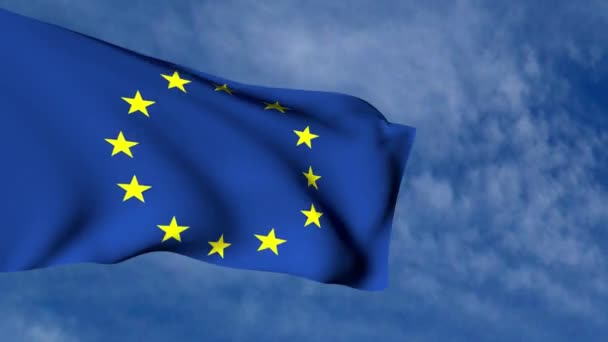 3D animace Evropské vlajky mávat ve větru na zatažené obloze