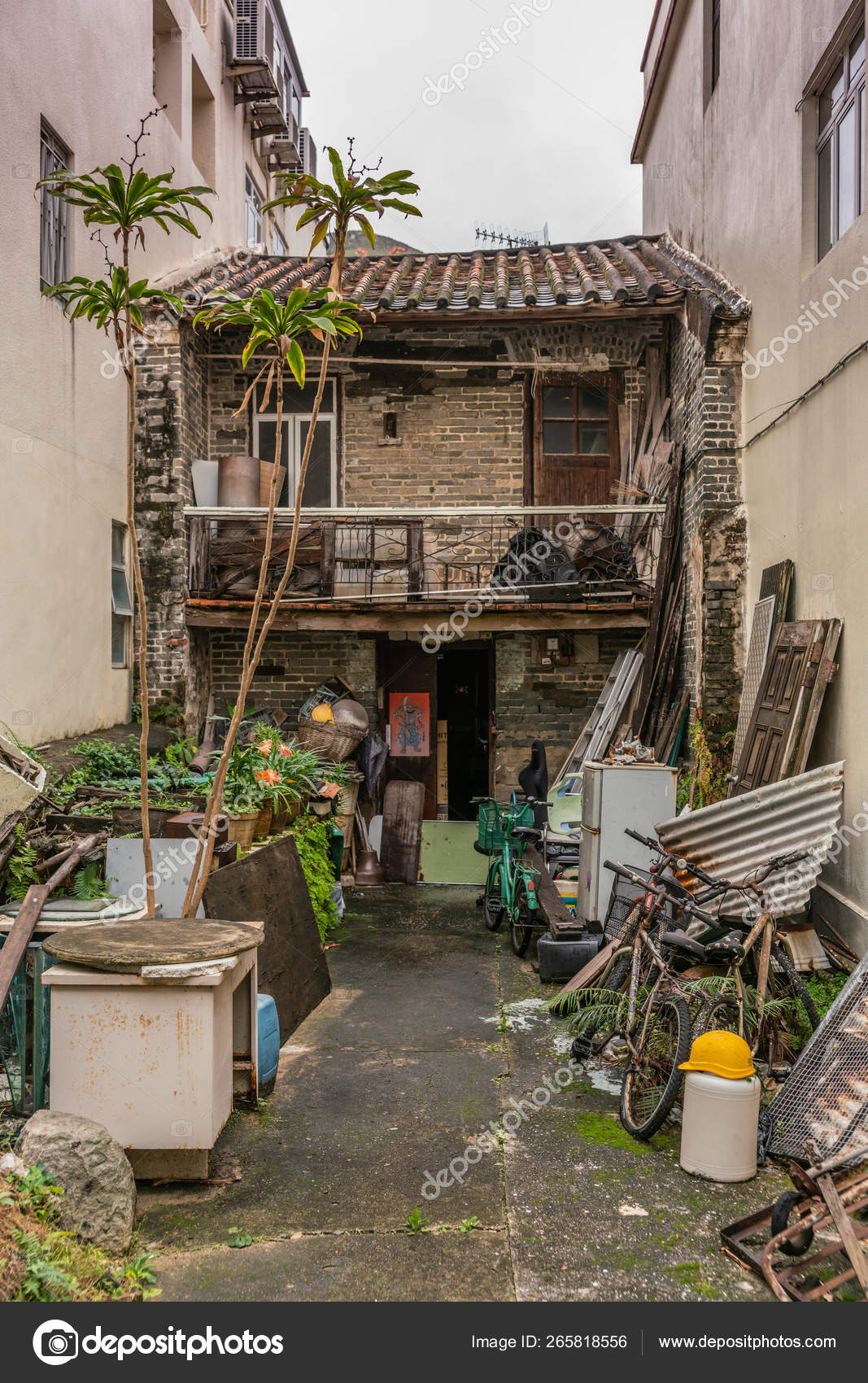 Small Old House Squeezed Between New Houses In Tai O Hong Kong