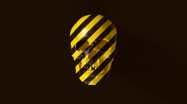 Yellow and Black Chevron Hazard Pattern Skull Front 3d illustration