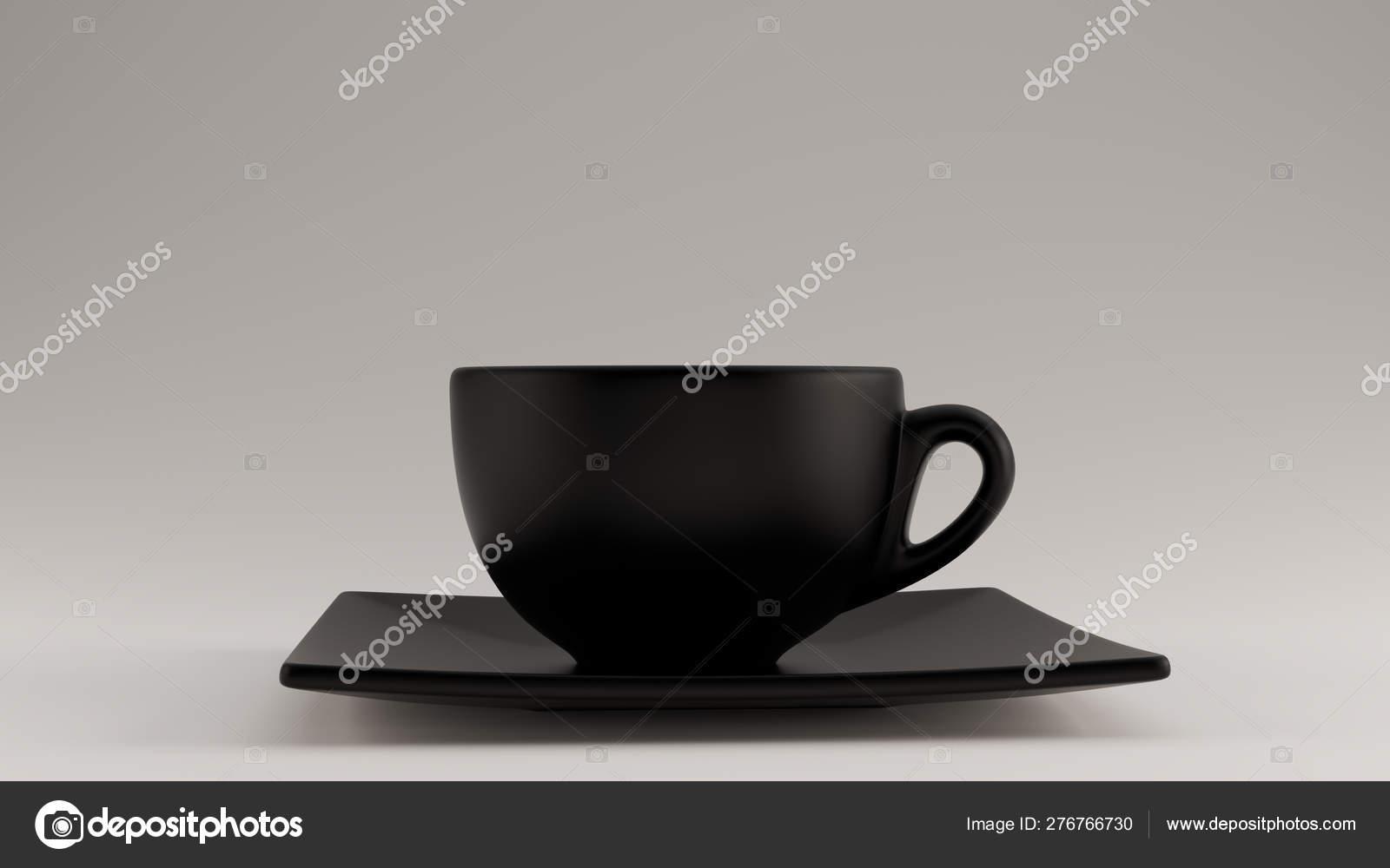Black Coffee Cup Saucer Cappuccino Tea Illustration Render Stock Photo C 80schild 276766730