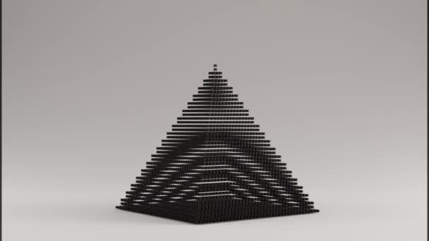 Rotating Black Pyramid Made out of Lots of Smaller Cubes with a Visual Aliasing Stroboscopic Effect 3d illustration 3d render 3d animation