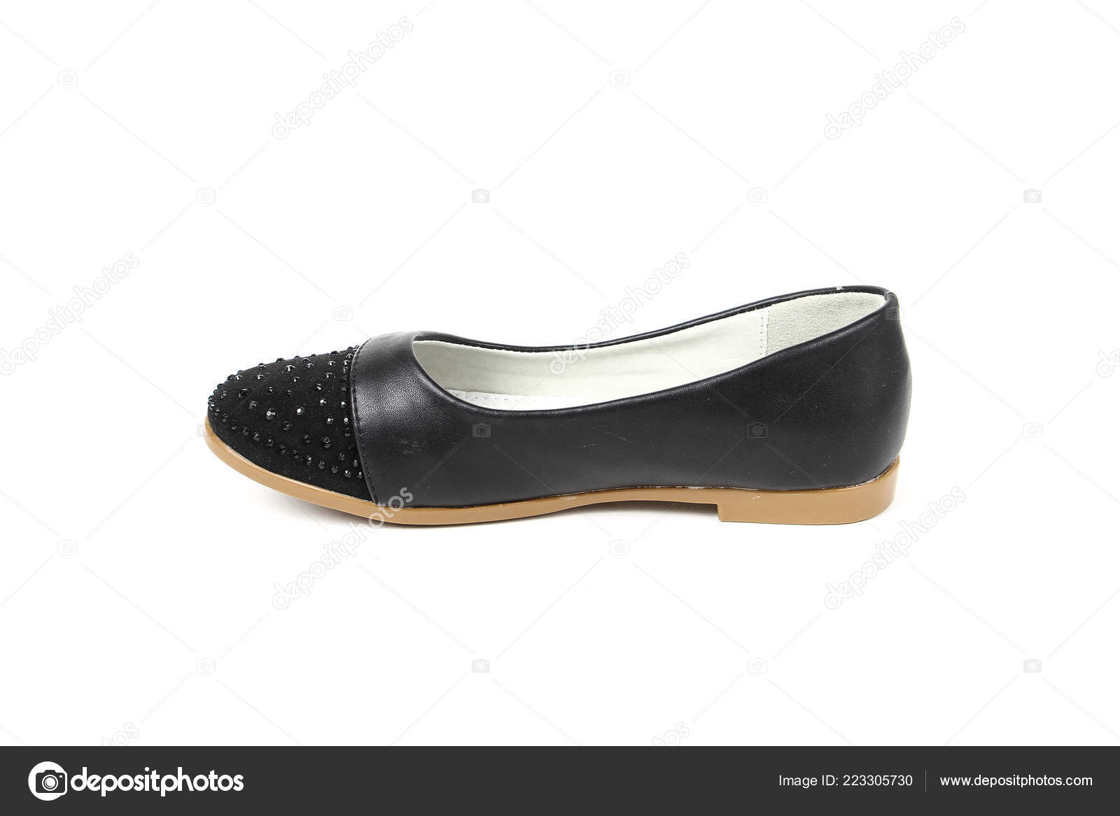 d2141743a Women Flat Photo Black Shoes Isolated White Background — Stock Photo ...
