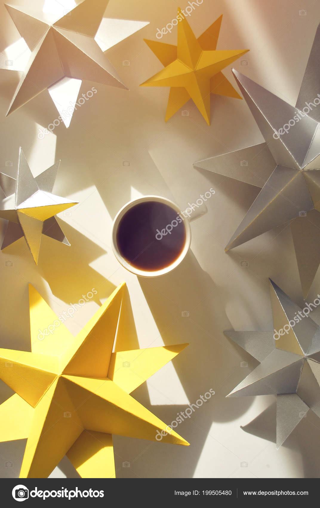 Cup Coffee Paper Stars Long Shadows Breakfast Birthday