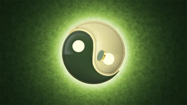 Energetické bilance. Vzájemný průnik. Jin jang (vzájemné přidání dvou protikladů). Východní medicíny, kultury a filozofie. Akupunktura (Su Jok). Umělecké zelené pozadí. K dispozici ve vysoké kvalitě, váš projekt. Bezešvá smyčka. Cyklické 3d anima