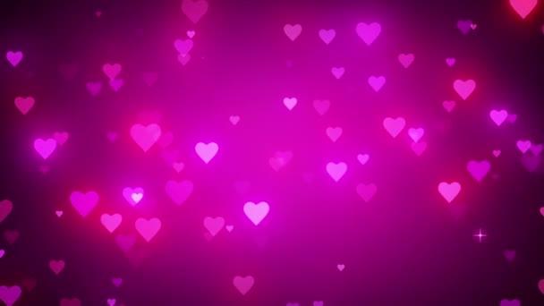 Romantické růžové pozadí s lesklými srdci. Symbol lásky. Valentina karta. Dynamické pohyby malých zářivých srdcí. K dispozici ve vysokém rozlišení a několika velikostech, které vyhovují potřebám projektu. 3D animace.