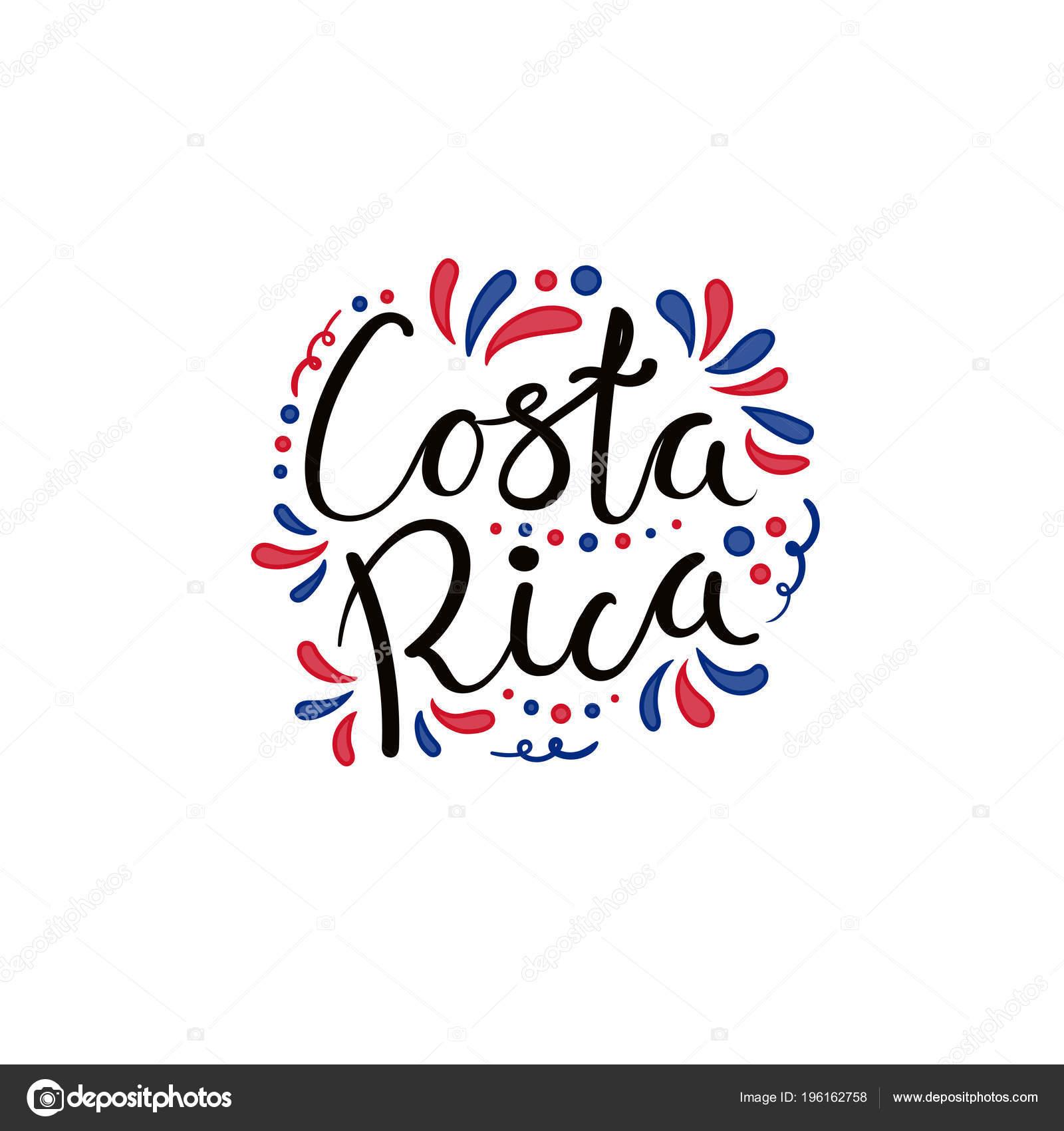 Hand Geschriebene Kalligrafische Schrift Zitat Costa Rica Mit Dekorativen  Elementen In Den Farben Der Flagge Isoliert Auf Weißem Hintergrund, Vektor,  ...