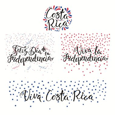 Set of hand written calligraphic Spanish lettering quotes for Costa Rica Independence Day with stars and confetti in flag colors, vector, illustration