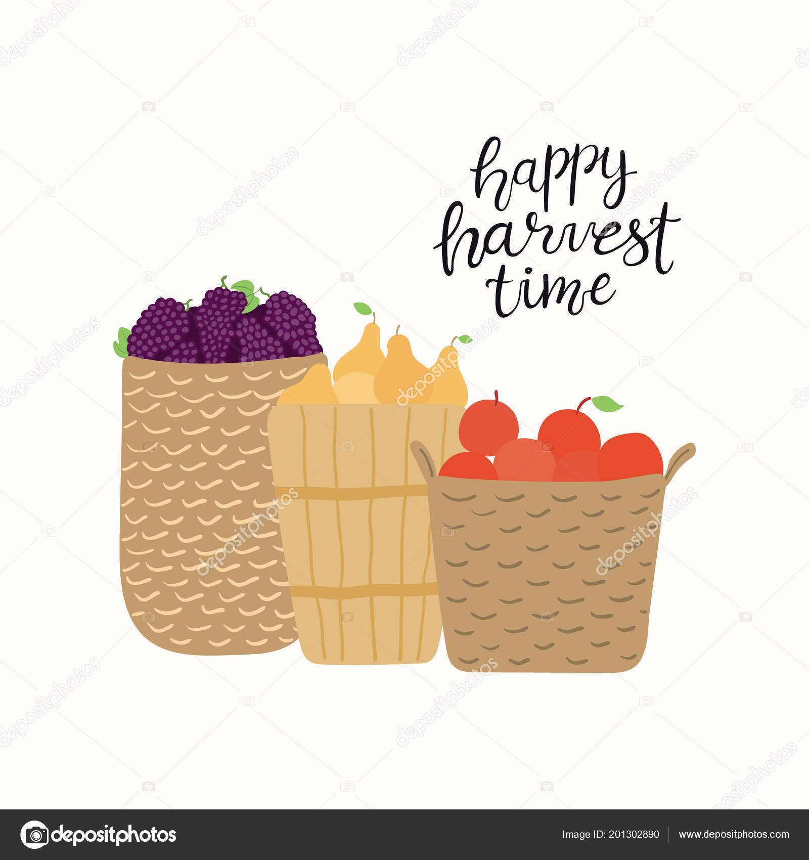 Hand Drawn Vector Illustration Baskets Grapes Apples Pears Lettering ...