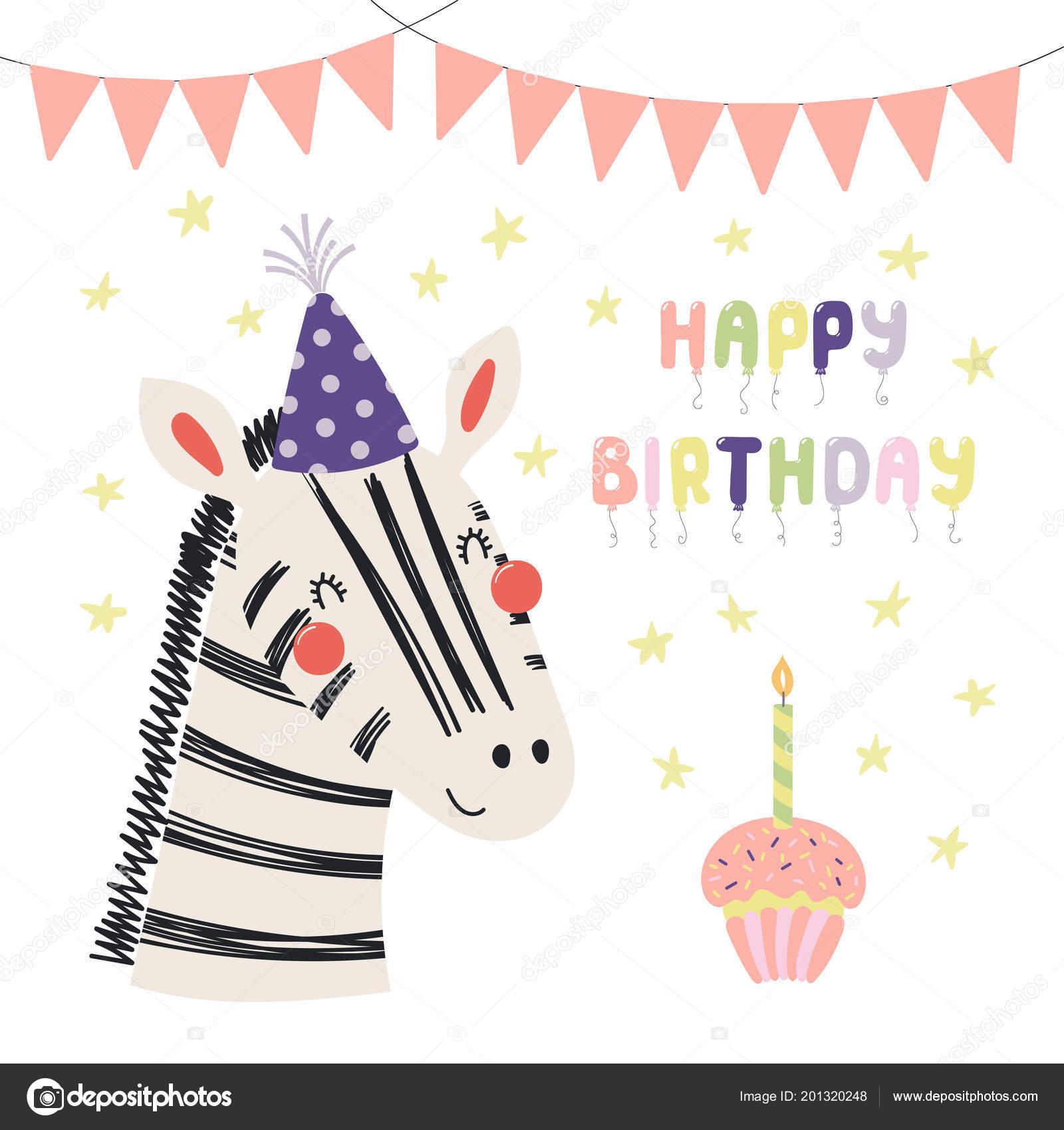 Carte Anniversaire Zebre.Main Dans Carte Anniversaire Style Scandinave Avec Zebra