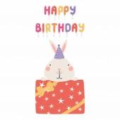 Tisk ručně kreslenou ve skandinávském stylu k narozeninám s roztomilý funny bunny párty čepice a nabídku k narozeninám, vektor, ilustrace, koncept pro děti