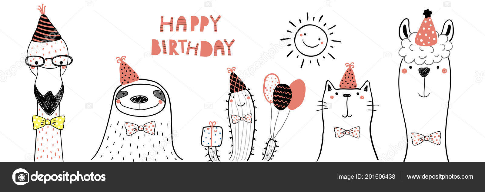 Hand Drawn Birthday Card With Cute Funny Flamingo And Sloth Cat Llama In Party Hats Lettering Quote Happy Design Concept For Children