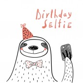 Fényképek Hand drawn birthday card with cute funny sloth in a party hat taking selfie with a smartphone  and lettering quote, Design concept for children print.