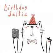Fényképek Hand drawn birthday card with cute funny cat in party hat taking selfie with a smartphone  and lettering quote, Design concept for children print.