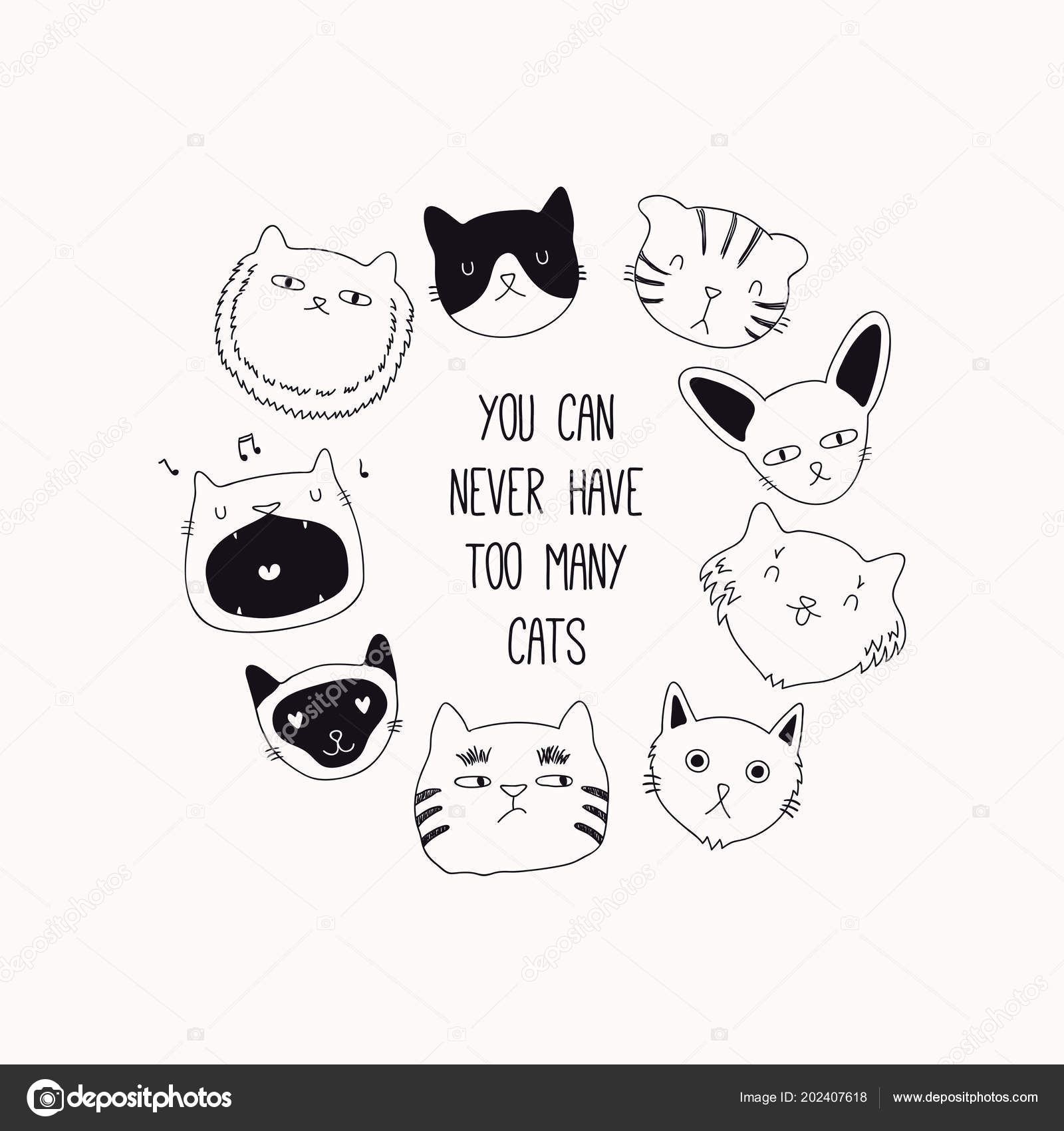 Hand Drawn Frame Cute Funny Black White Doodles Cats Vector — Stock ...