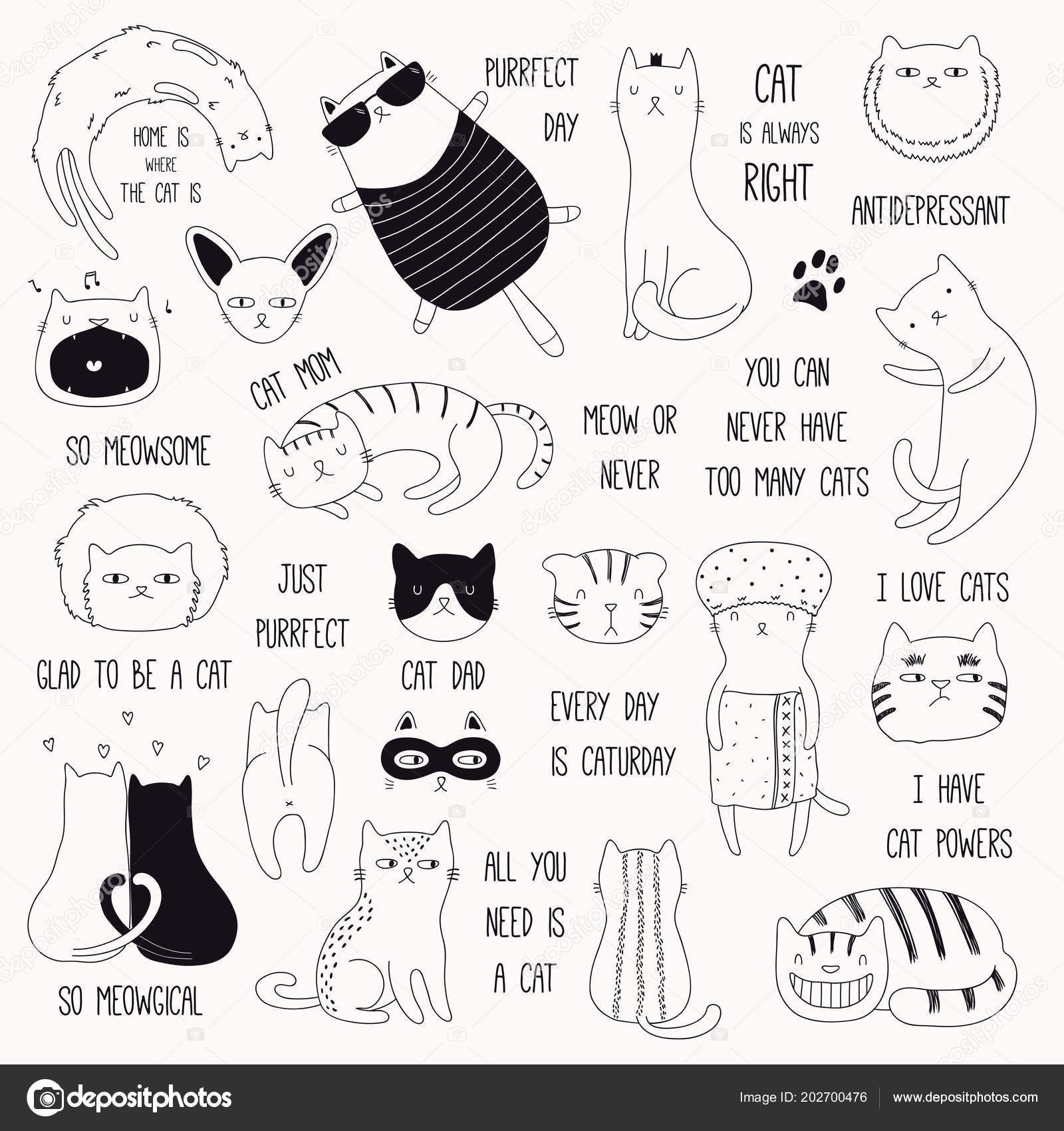 Black And White Cute Quotes Set Hand Drawn Cute Funny