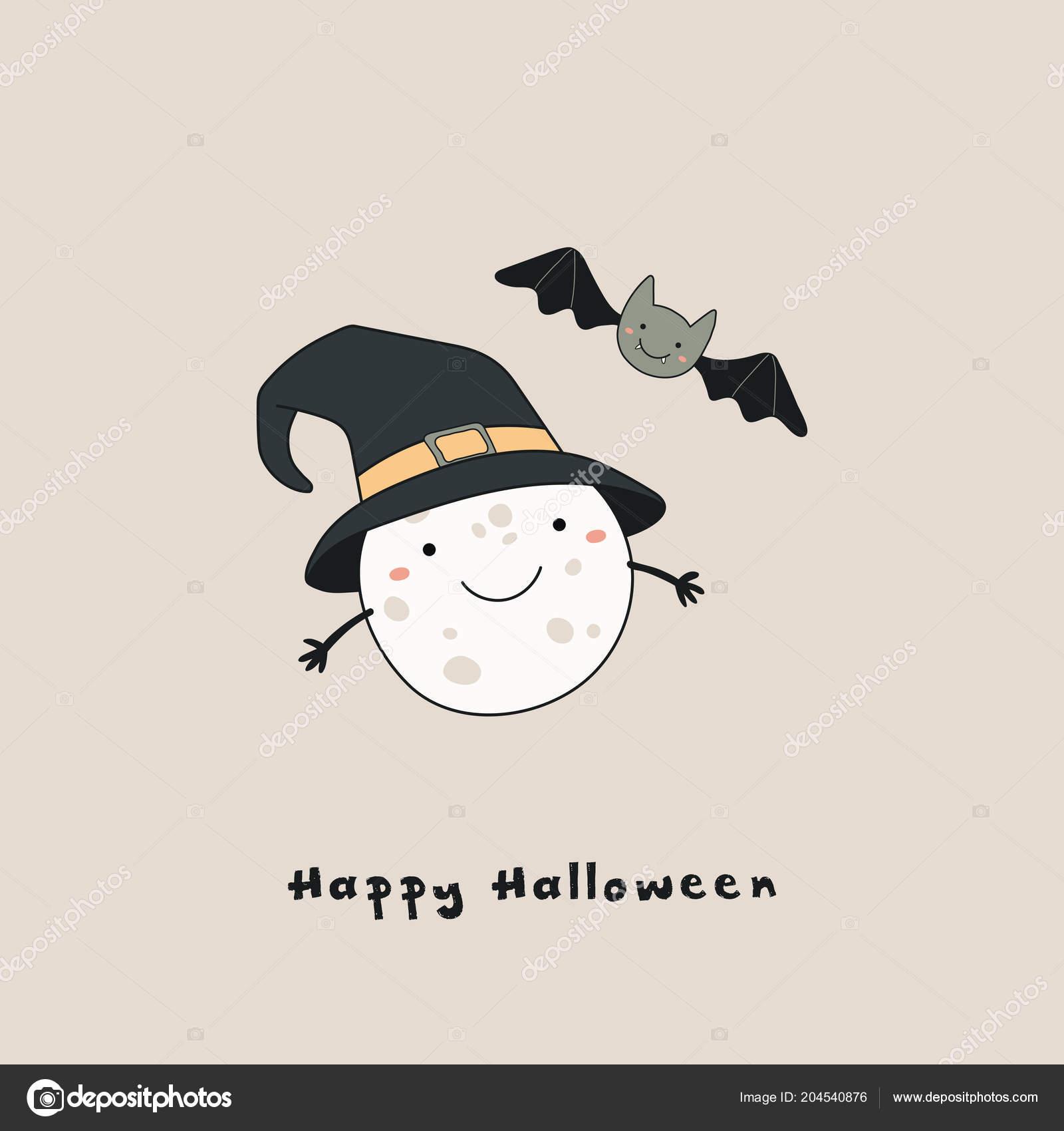 Vettore disegnato a mano kawaii Luna divertente in cappello della strega e  blocco con testo Happy Halloween f66dd058cf65