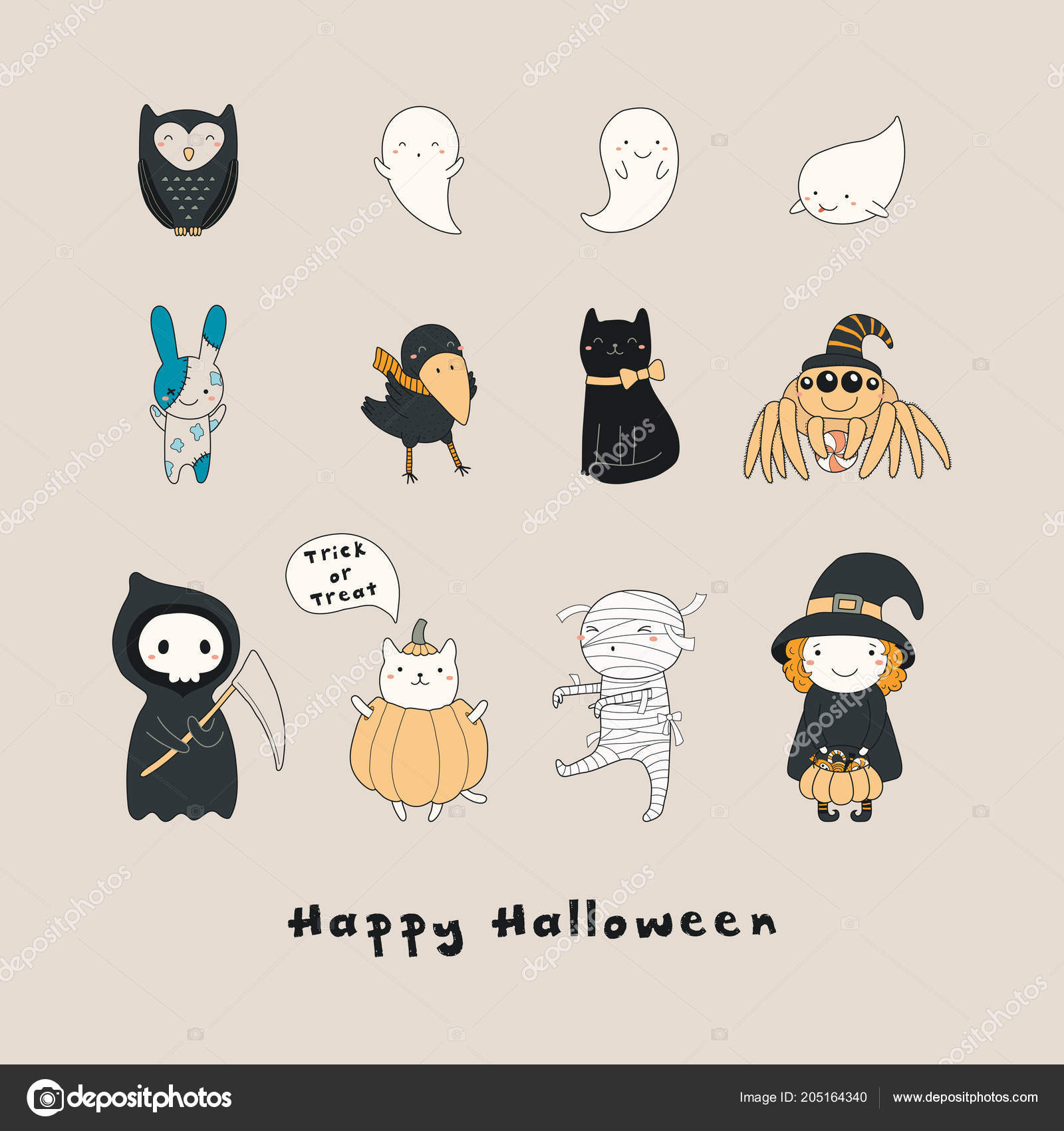 Perfekt Big Set Funny Halloween Elements Beige Background U2014 Vetores De Stock