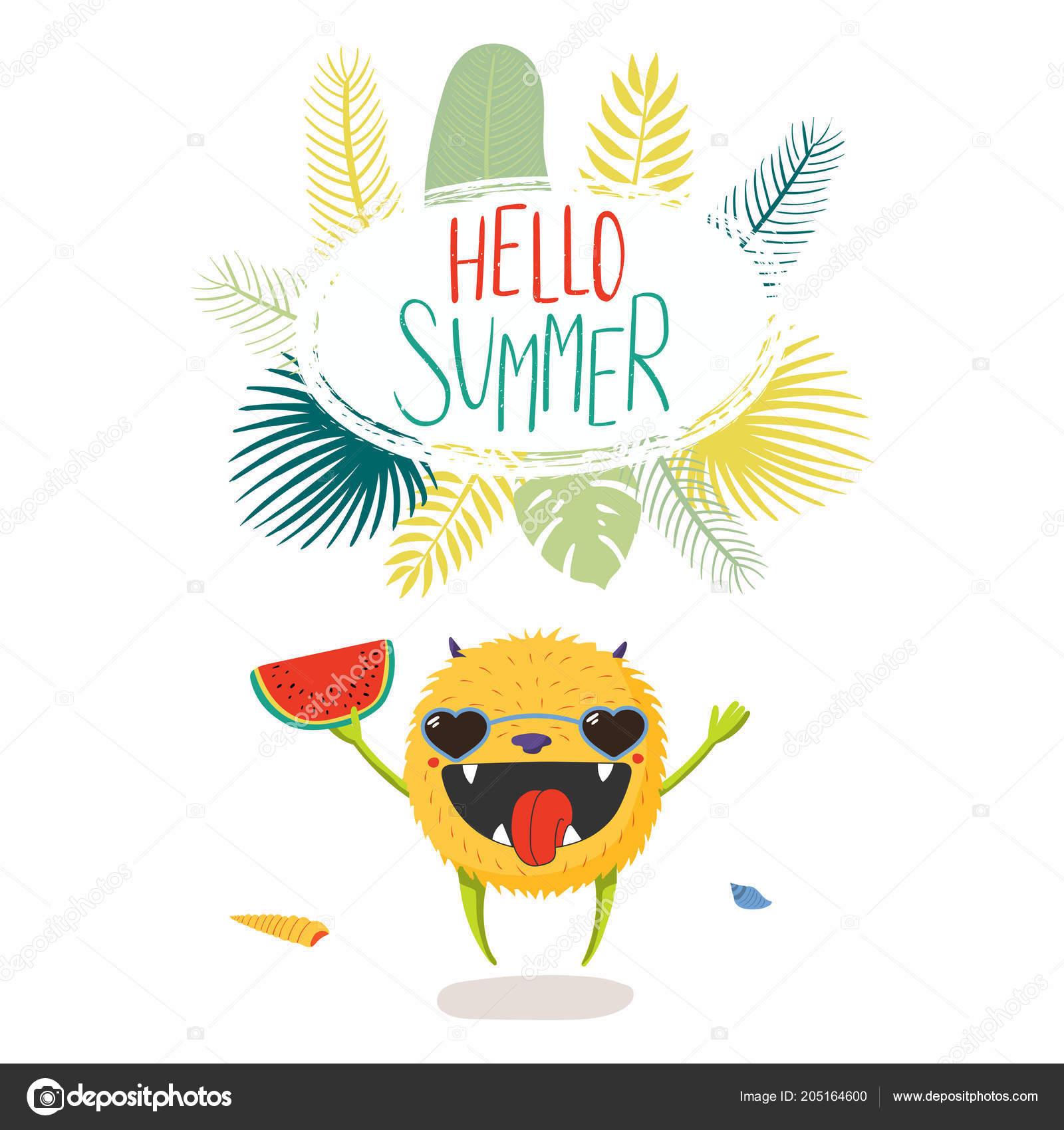 fd7b906cbcbfb8 Main a dessiné petit monstre dans lunettes de soleil avec devis Bonjour  Summer– illustration de stock