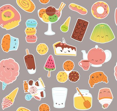 Hand drawn seamless pattern with funny sweet food stickers of cake, cookies, ice cream, candy, jam, macarons