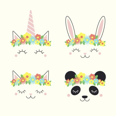Set of funny animal, unicorn, bunny, cat, panda, faces in flower crowns