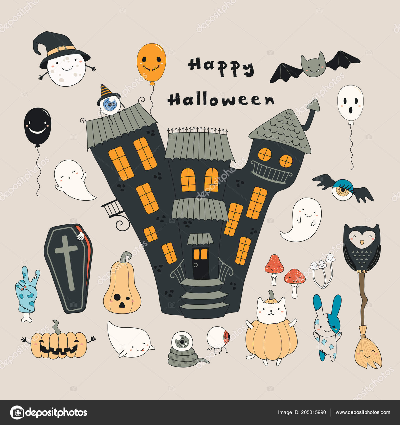 Big Set Funny Halloween Elements Beige Background U2014 Vetores De Stock
