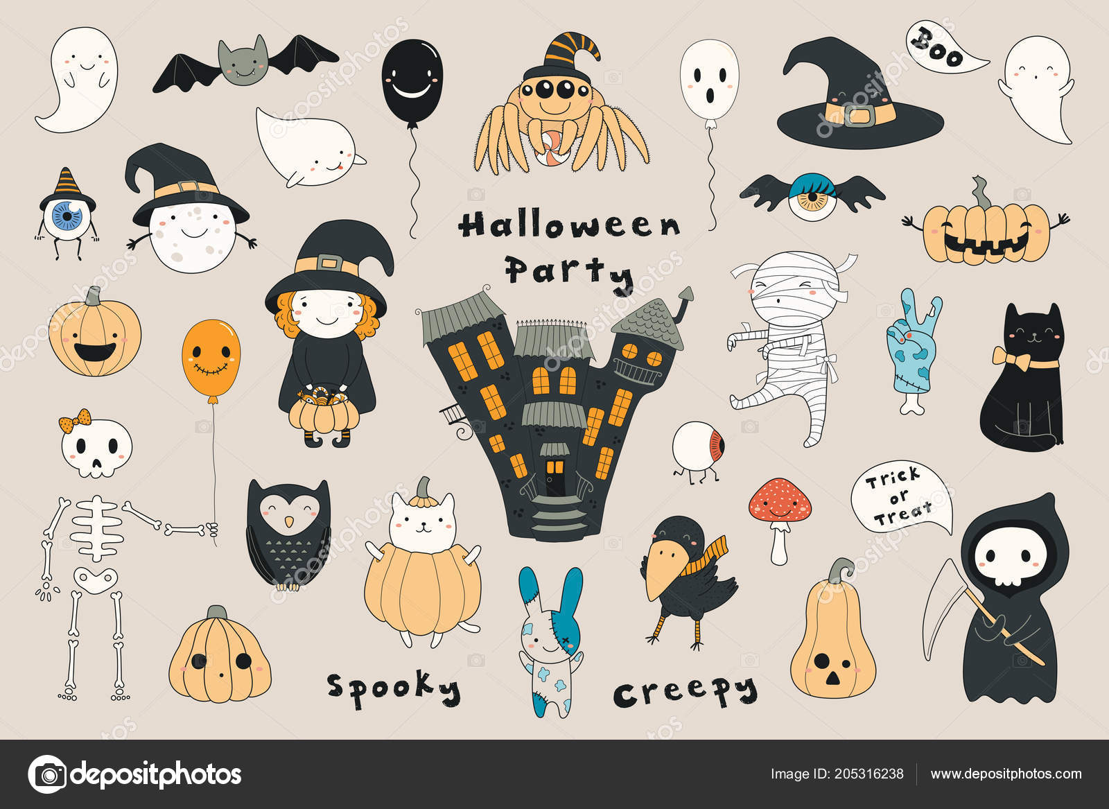 Big Set Funny Halloween Elements Beige Background U2014 Vetor De Stock