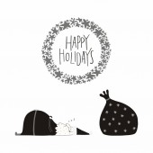 Fényképek Hand drawn vector illustration of a cute funny Santa Claus sleeping with sack and lettering quote Happy holidays Isolated on white background. Flat style design. Concept Christmas card