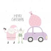 Fényképek Kézzel rajzolt vektoros illusztráció aranyos vicces Mikulás és elf, figyelembe véve az autó selfie és idézettel boldog karácsonyt, elkülönített fehér alapon, a fogalom a karácsonyi kártya zsák