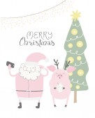 Fényképek Hand drawn vector illustration of a cute funny Santa Claus and pig taking selfie, with quote Merry Christmas Isolated on white background, Concept for Christmas card