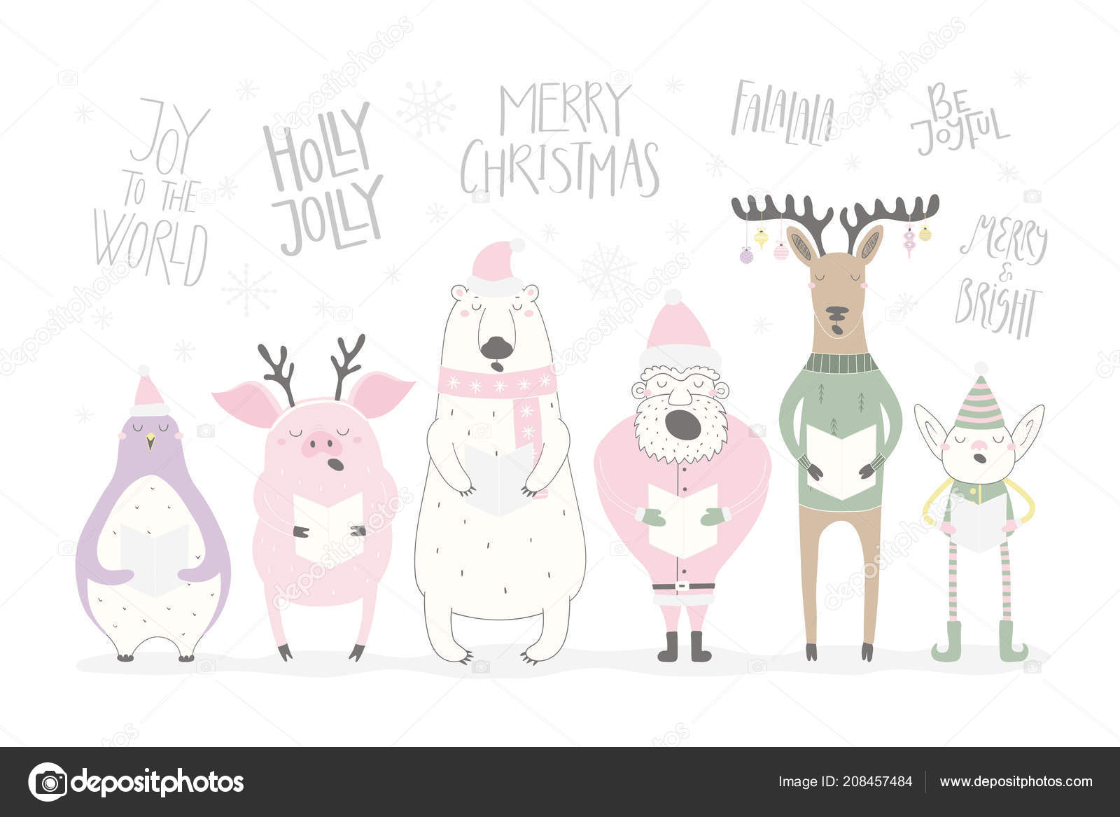 Hand Drawn Vector Illustration Cute Funny Singing Santa Elf ...